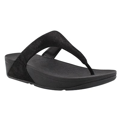 Lds Shimmy black glimmer thong sandal