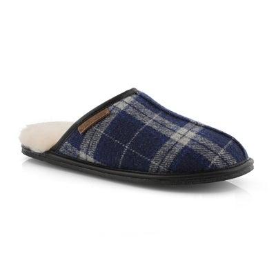 Mns Cadel navy plaid open back slipper