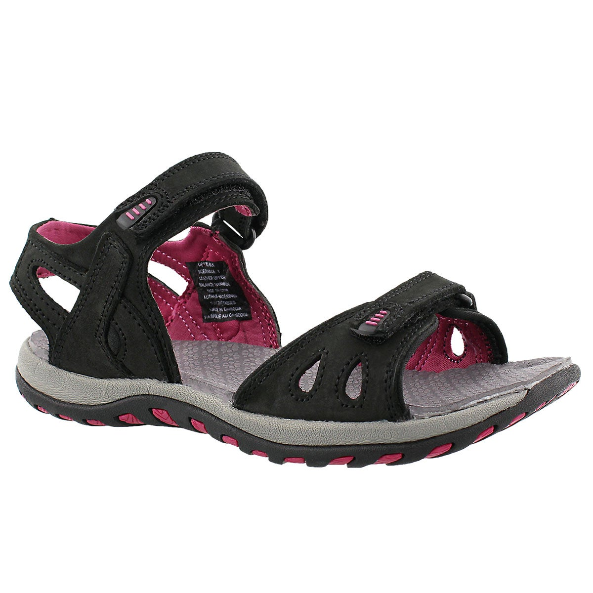 Lds Caley 2 black 3 strap sport sandal
