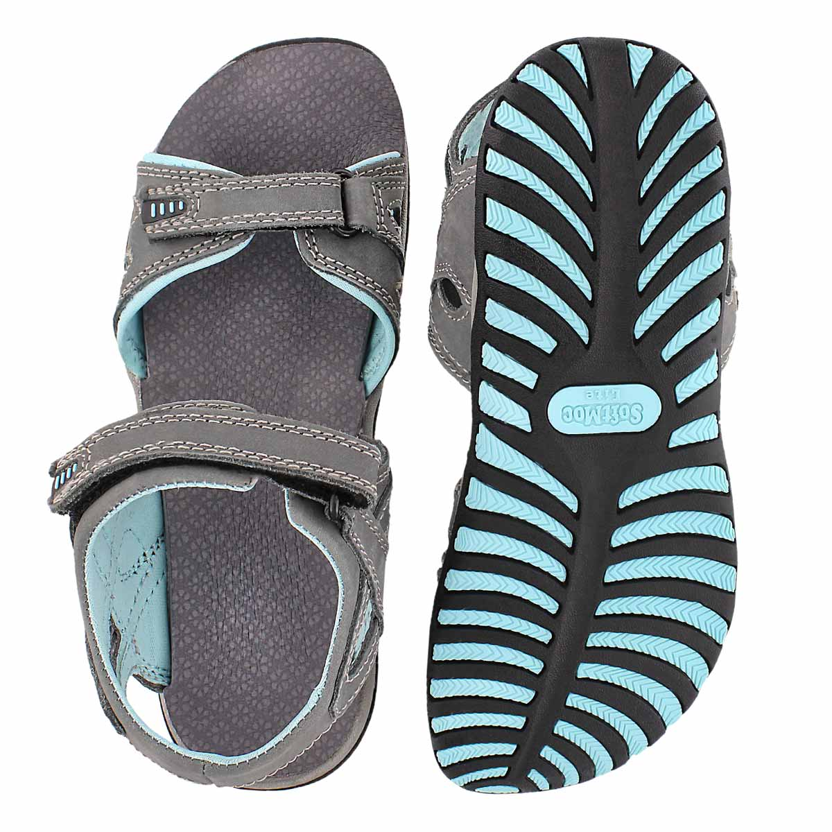 Lds Caley 2 grey 3 strap sport sandal
