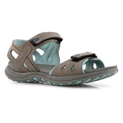 Lds Caley 3 grey 3 strap sport sandal