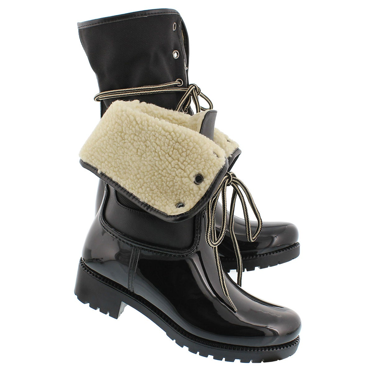 Lds Calgary blk tall lace up rain boot