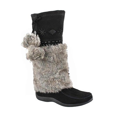 SoftMoc Girls' CANDY2 JR black faux rabbit mukluks