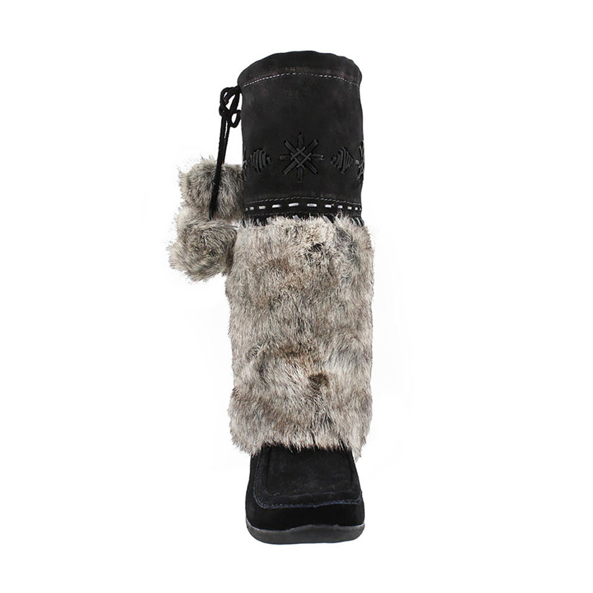 Grls black faux rabbit mukluk
