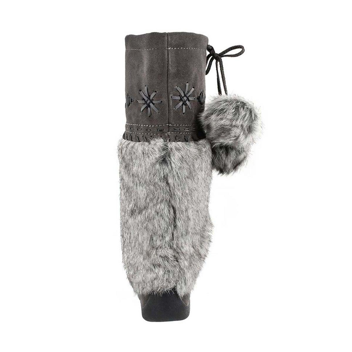 Grls grey faux rabbit mukluk