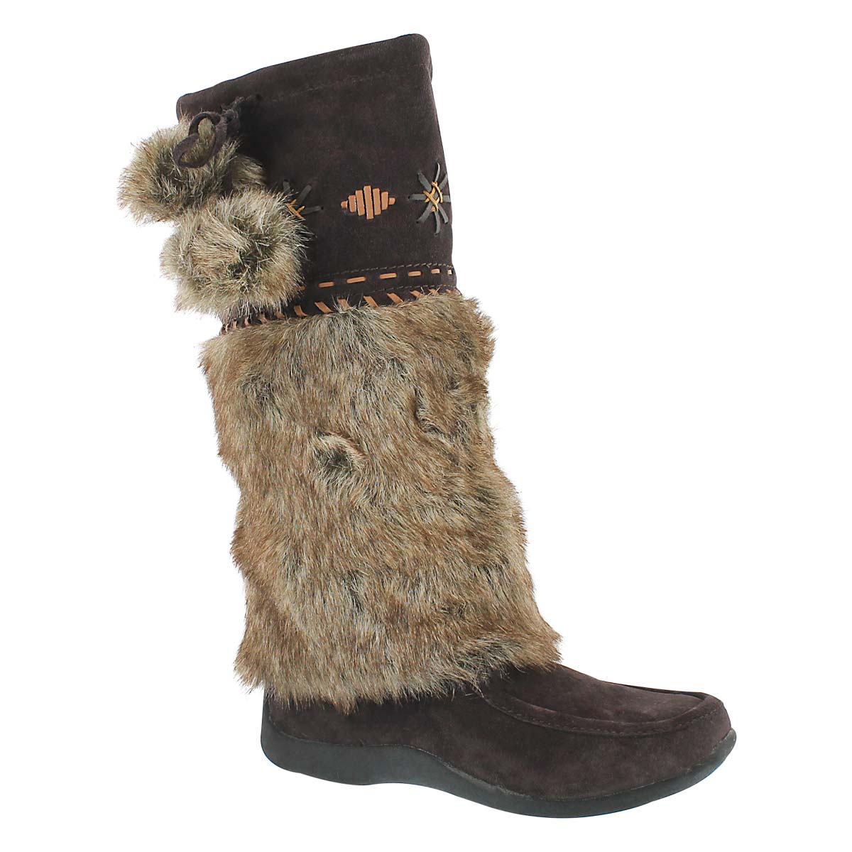 Women's CANDY 4 brown suede mukluks