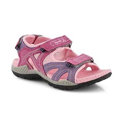 Grls Cape pink 3 strap sport sandal