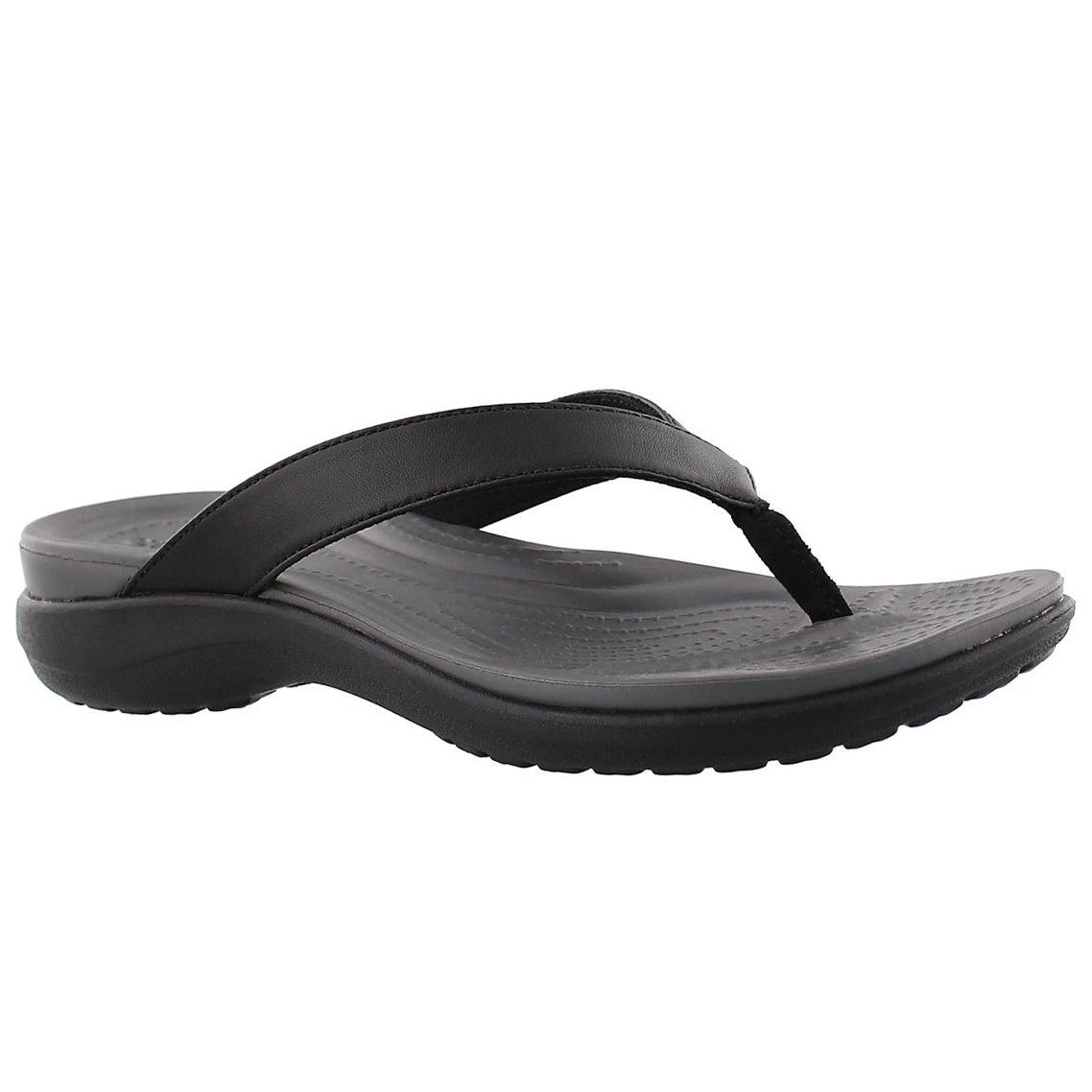 Lds Capri V Flip black thong sandal