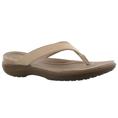 Crocs Women's CAPRI V FLIP chia/walnut thong sandals