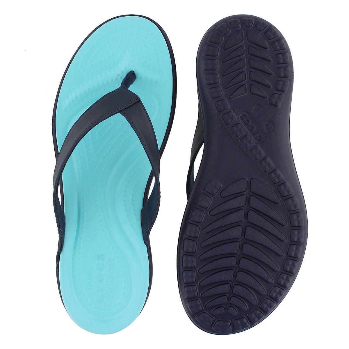 Lds Capri V Flip navy/blue thong sandal