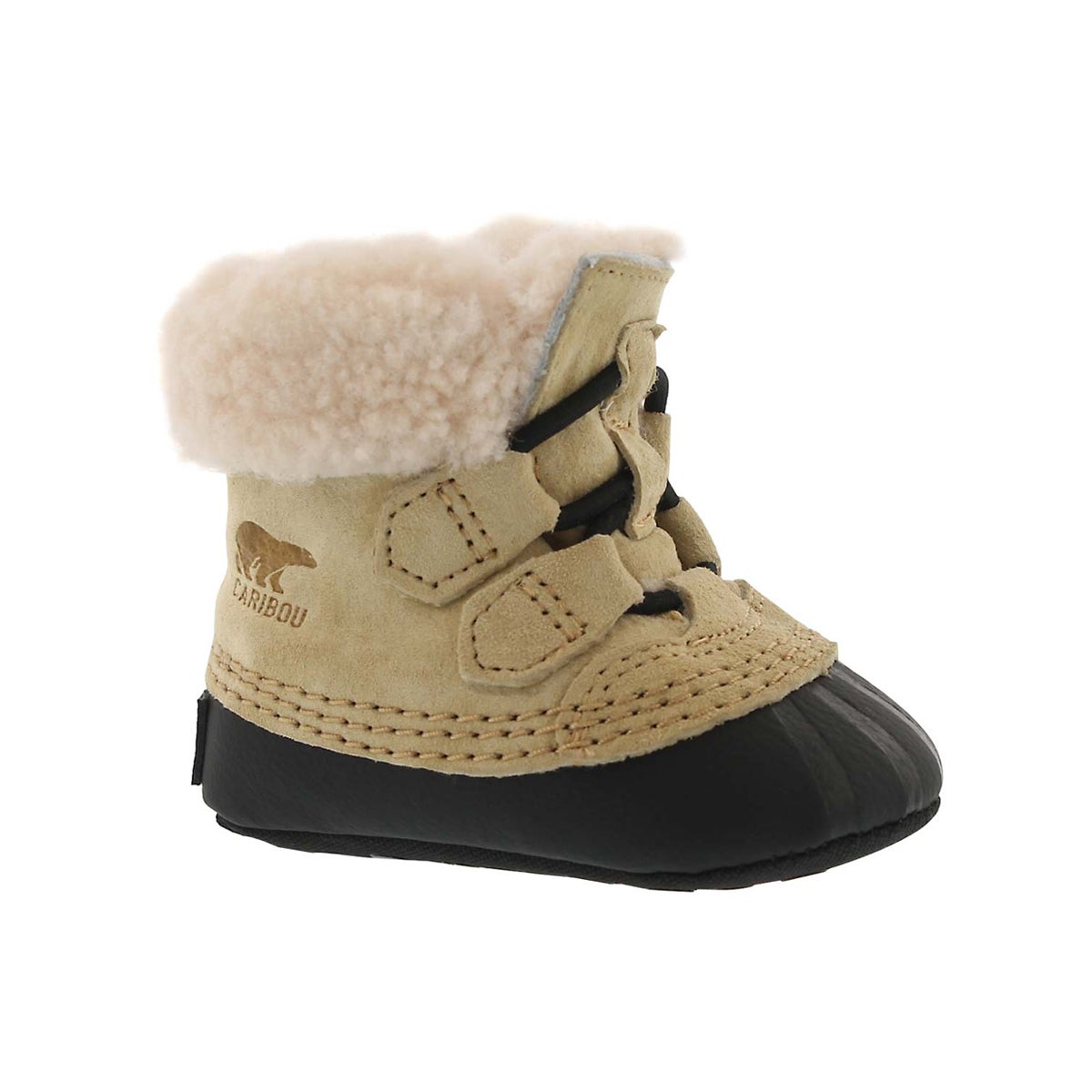Infants' CARIBOOTIE curry/black boot slippers