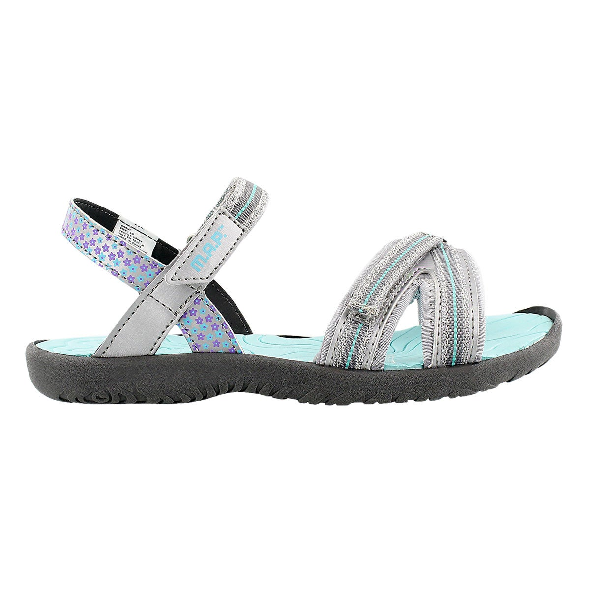 Grls Carmi silver/turq casual sandal