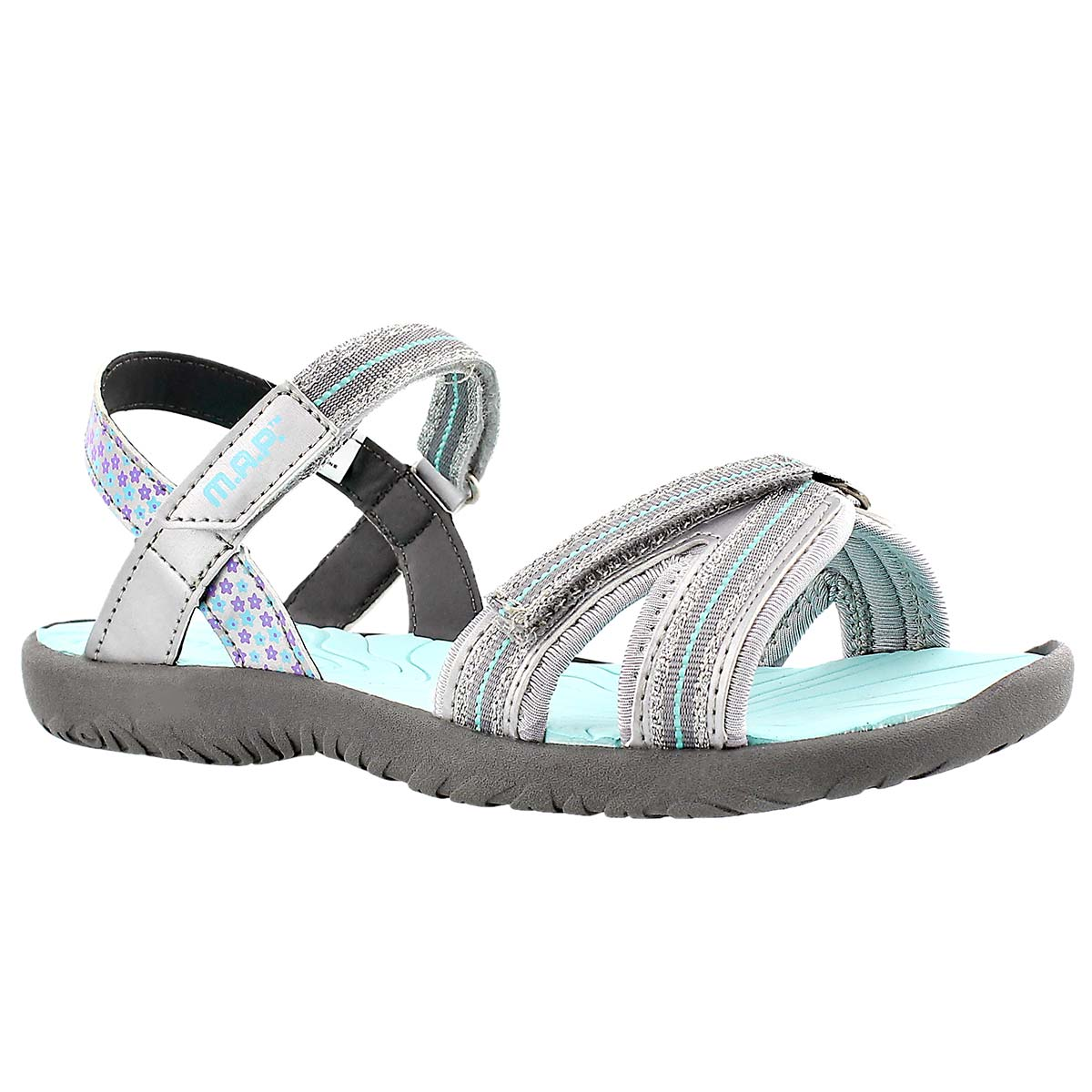 Girls' CARMI silver/turq casual sandals