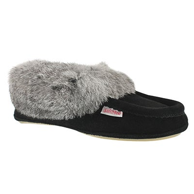 SoftMoc Women's CARROT-II-BLK suede rabbit fur moccasins