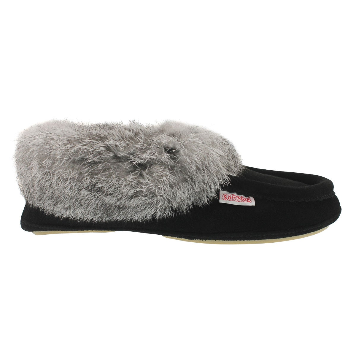 Lds Carrot2 blk sde rabbit fur moccasin