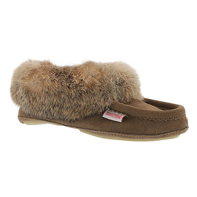 SoftMoc Women's CARROT-II-BIRCH suede rabbit fur moccasins