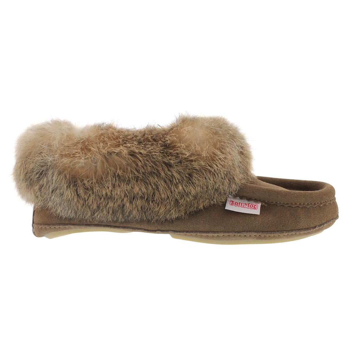 Lds Carrot2 brch sde rabbit fur moccasin