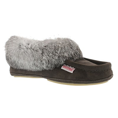 SoftMoc Women's CARROT-II-GREY suede rabbit fur moccasins