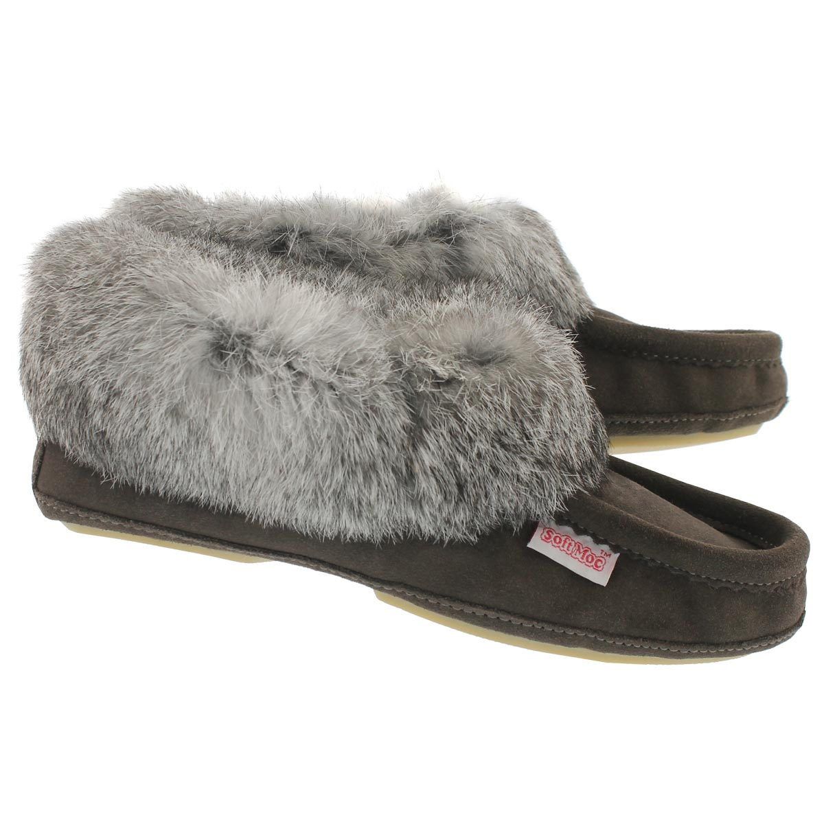 Lds Carrot2 grey sde rabbit fur moccasin