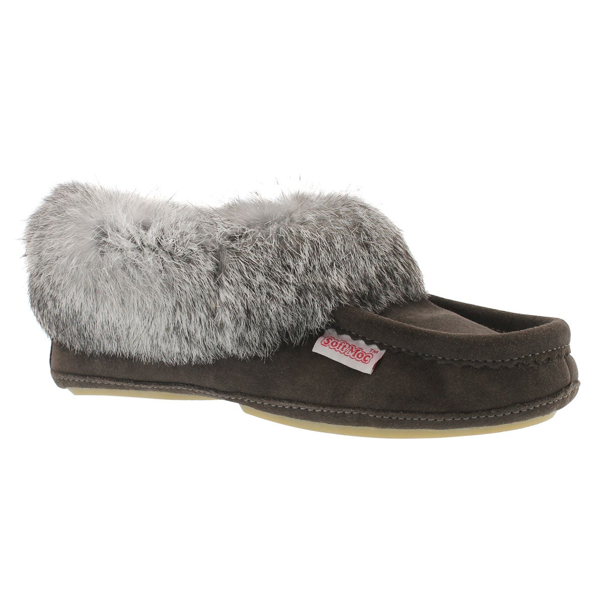 Lds Carrot2 grey sde rabbit fur moccasin