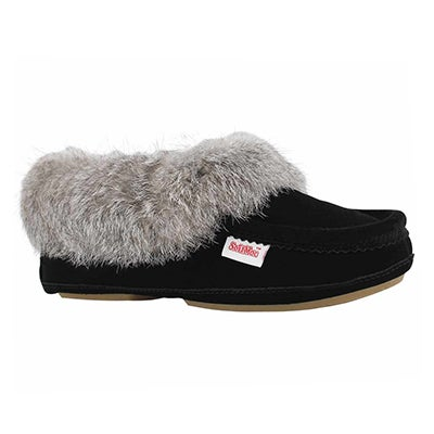 Lds Carrot 3 blk rabbit fur moccasin