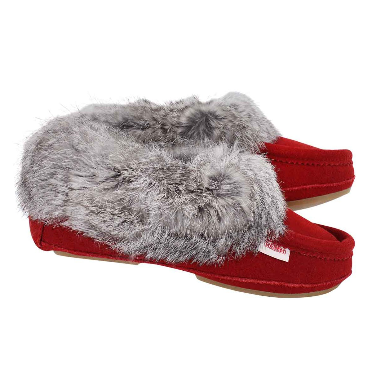 Lds Carrot 3 red rabbit fur moccasin