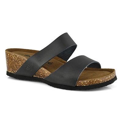 Lds Cassiopeia blk mem foam wdg sandal