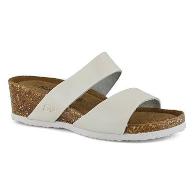 Lds Cassiopeia wht mem foam wdg sandal