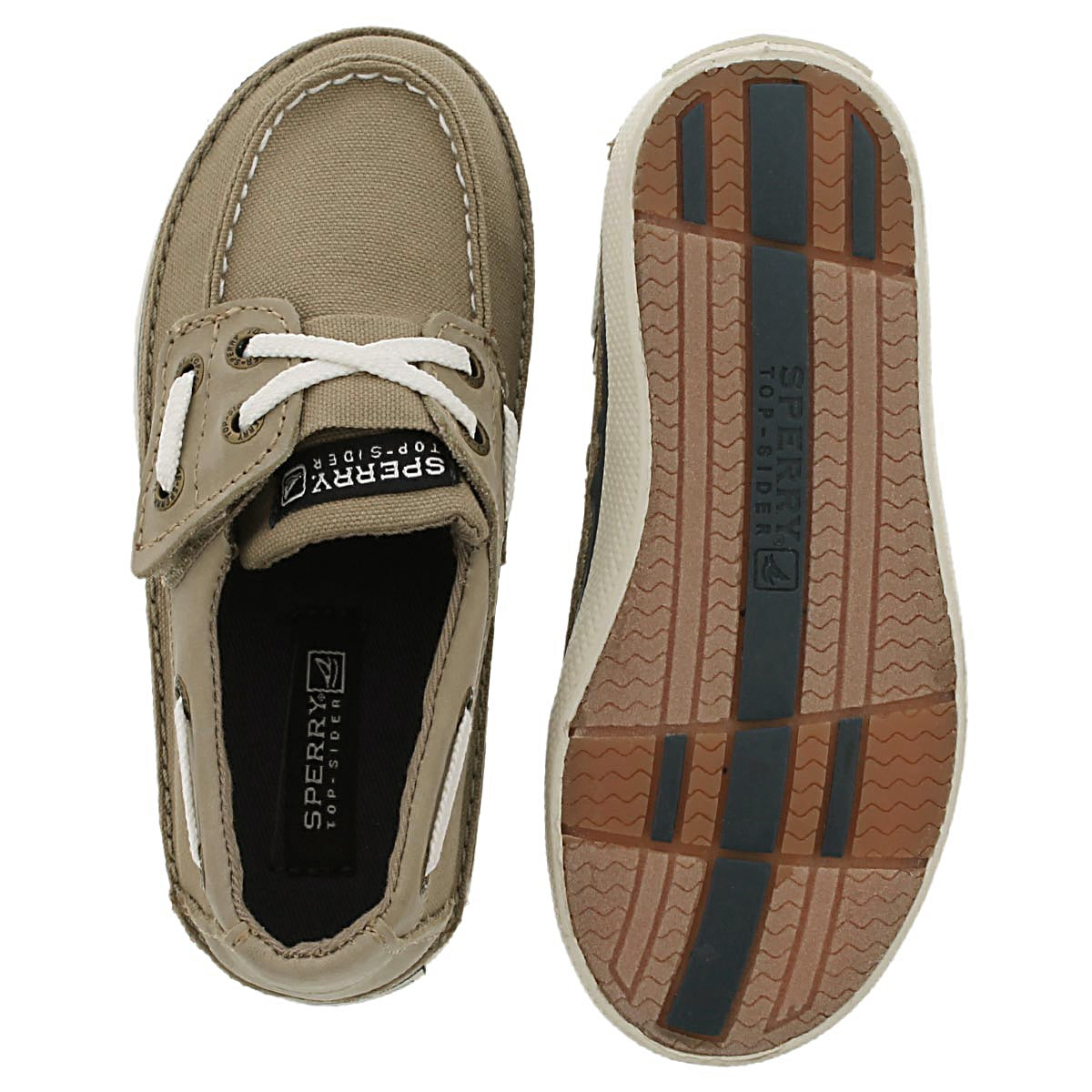 Inf Cruz Jr. khaki boat shoe