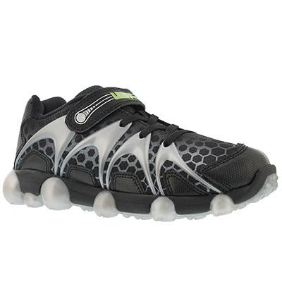 Stride Rite Boys' LEEPZ black/grey light up running shoes