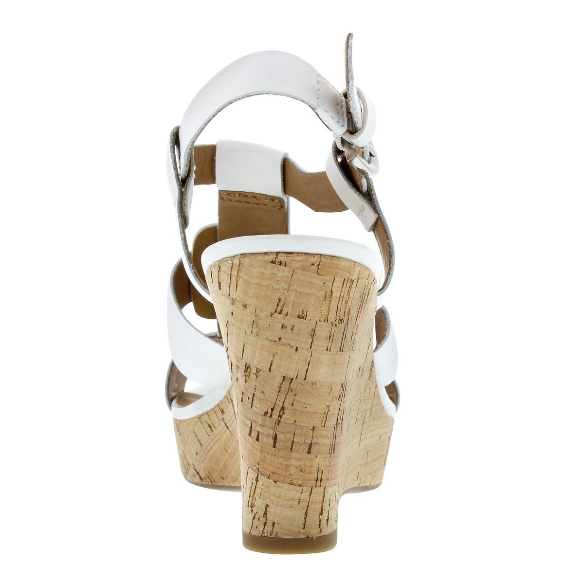 Lds Cera wht leather wedge sandal