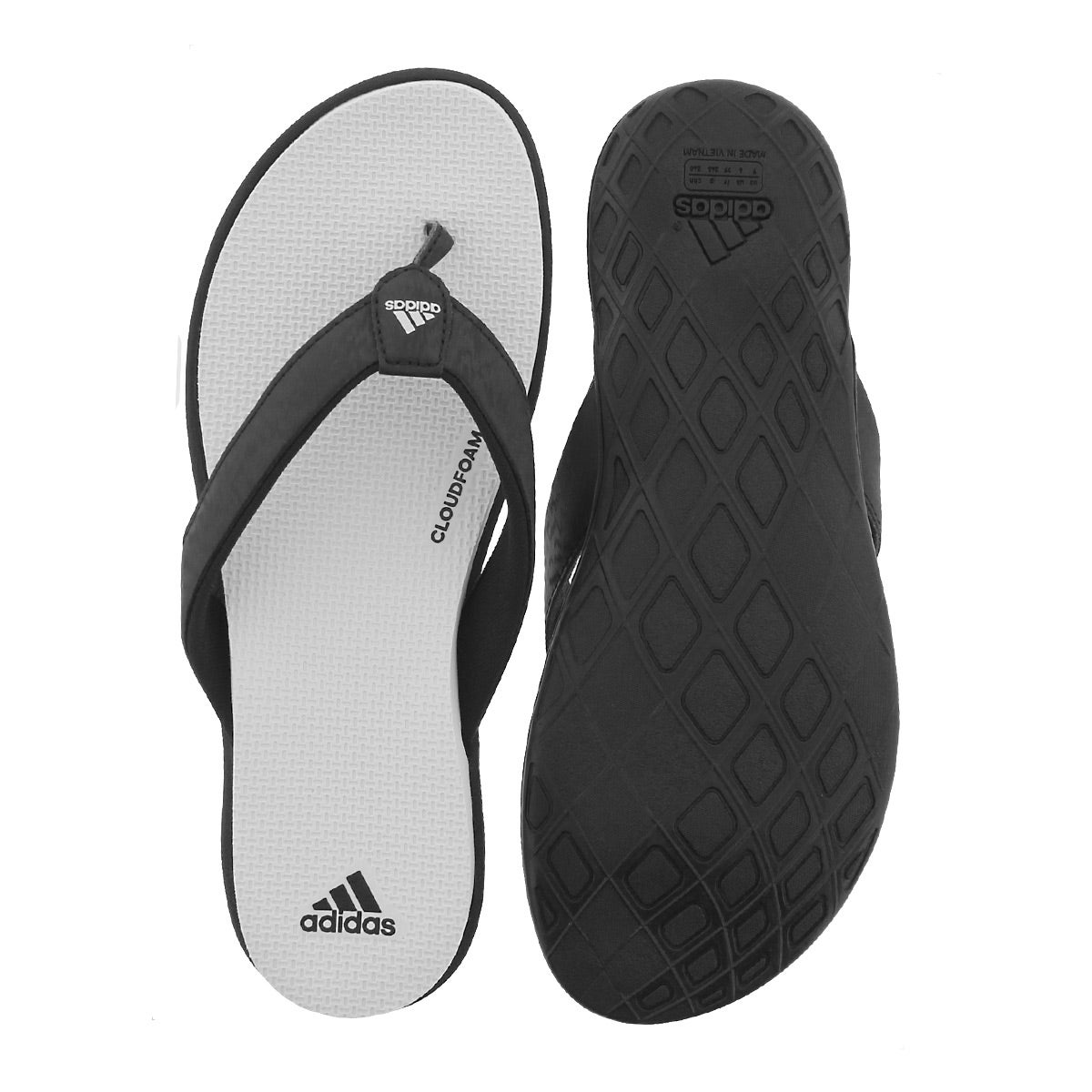 Lds Cloudfoam One Y blk/wht thong sandal