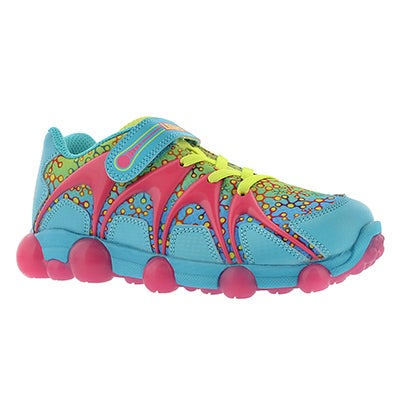 Stride Rite Girls' LEEPZ blue/lime/pink light up sneakers
