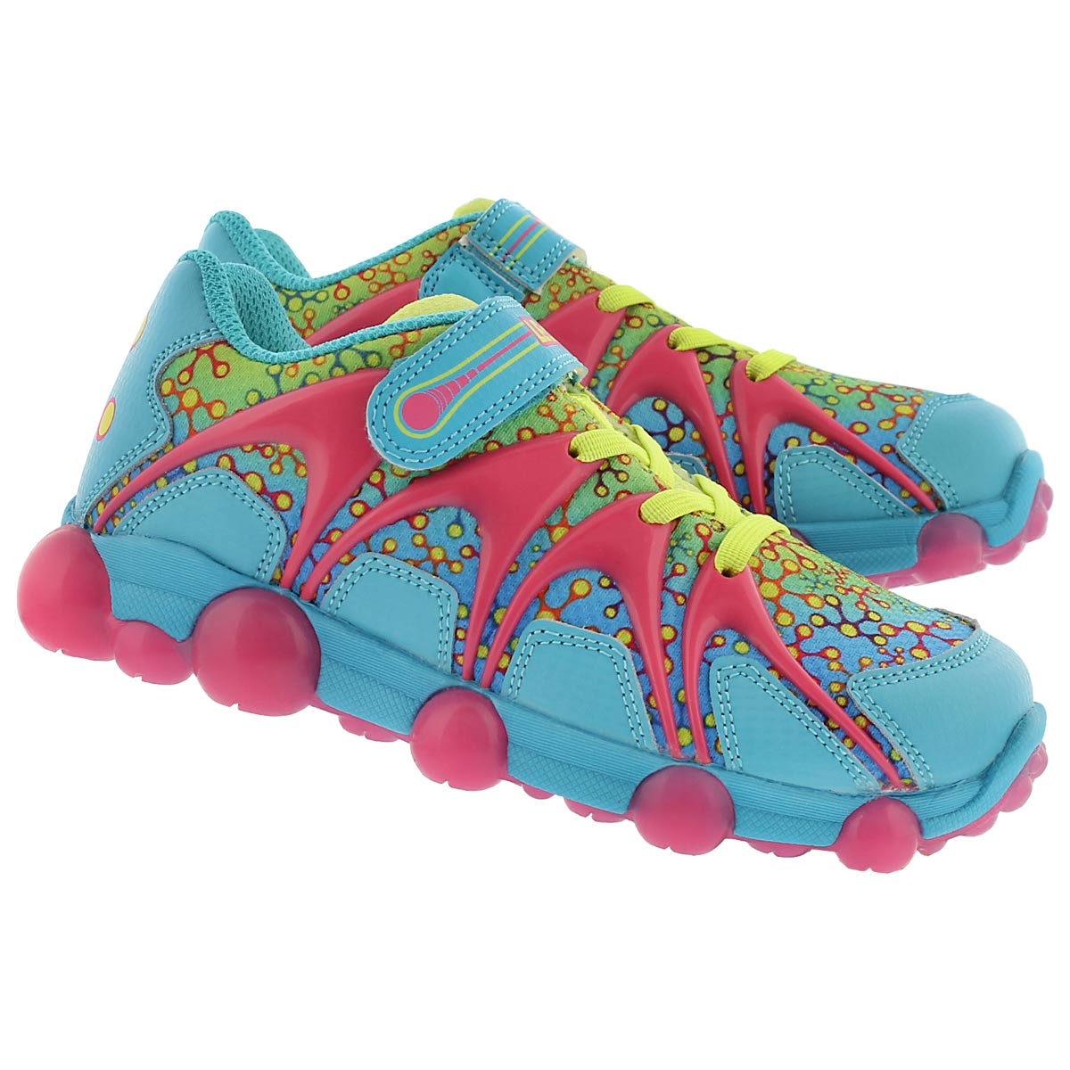 Grls Leepz blu/lime/pnk light up sneaker