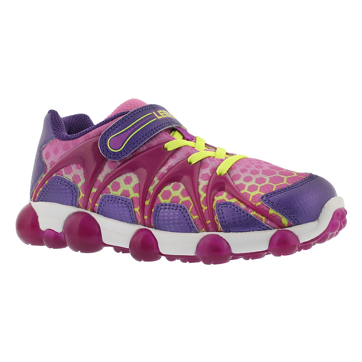Grls Leepz purple/lime light up sneaker