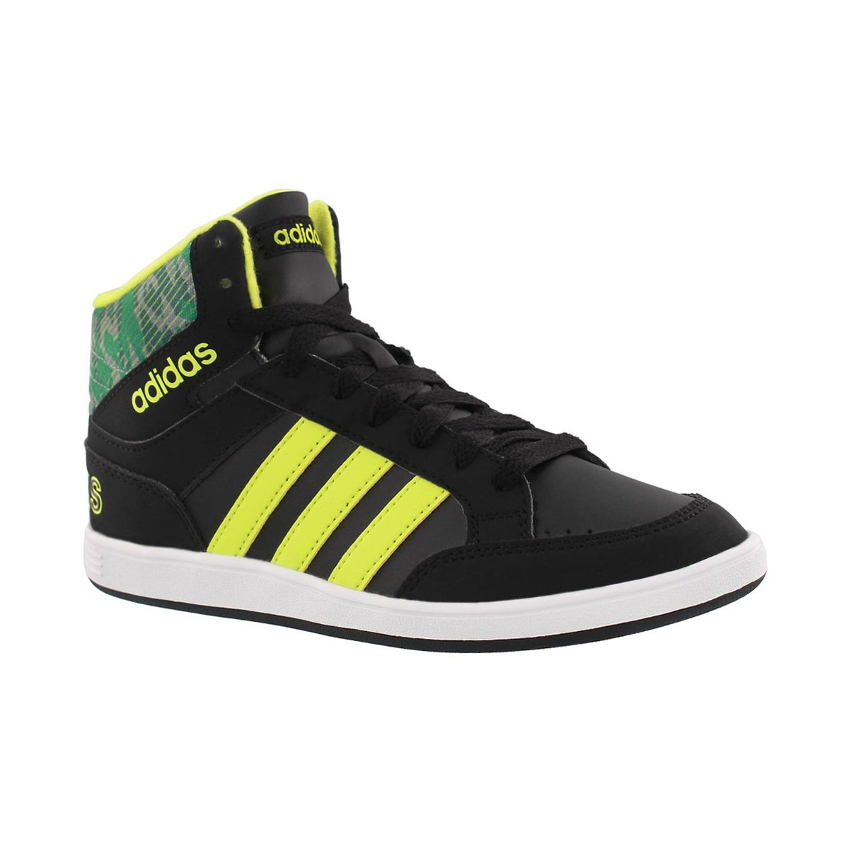 Boys' HOOPS mid black/yellow lace up sneaker