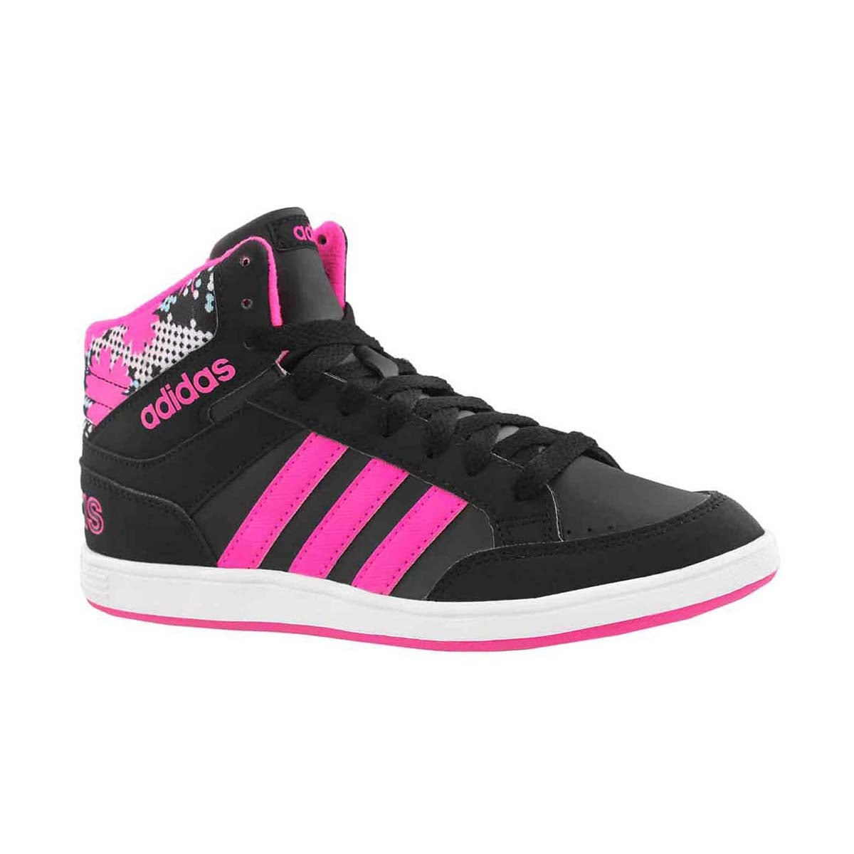 Grls Hoops Mid blk/pink lace up sneaker