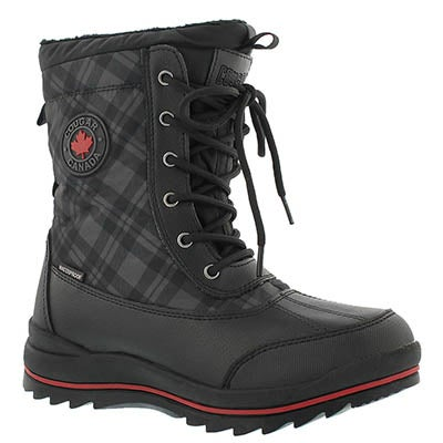 Cougar Women's CHAMBLY black plaid wtpf winter boots