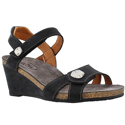 Taos Women's CHARADE black wedge sandals.
