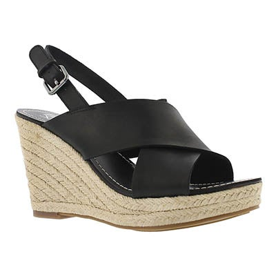 Franco Sarto Women's CHARRA black espadrille wedge sandals