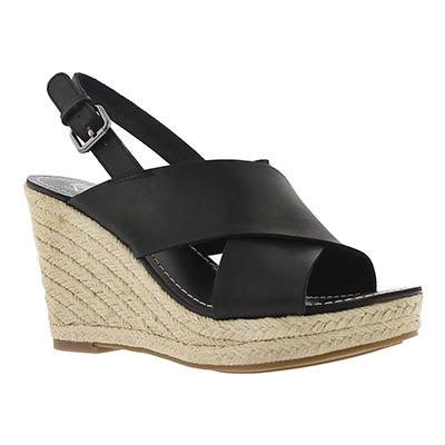 Lds Charra blk espadrille wedge sandal