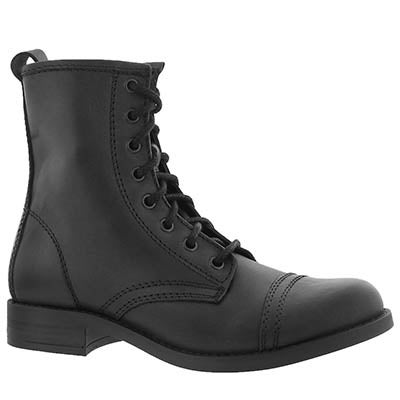 Lds Charrie black lace up combat boot