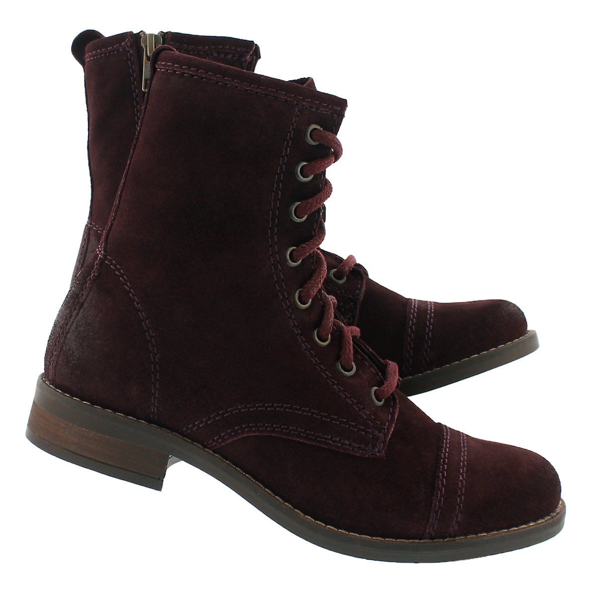 Lds Charrie wine lace up combat boot