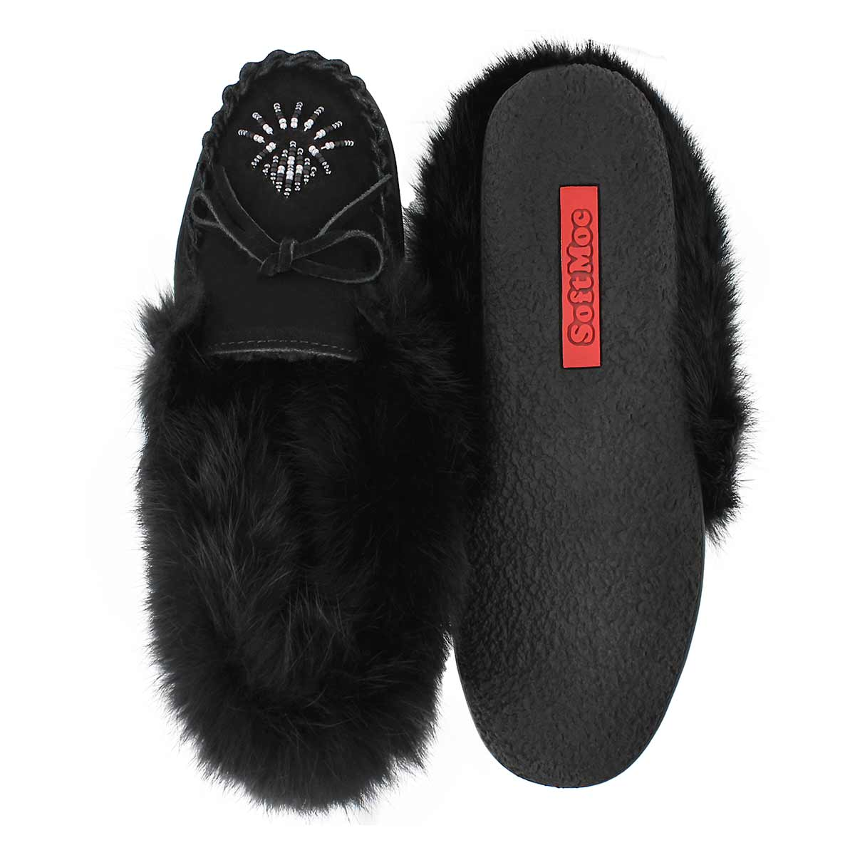 Lds Cherry blk rabbit fur moccasin