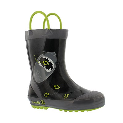Bys Chomp black rain boot