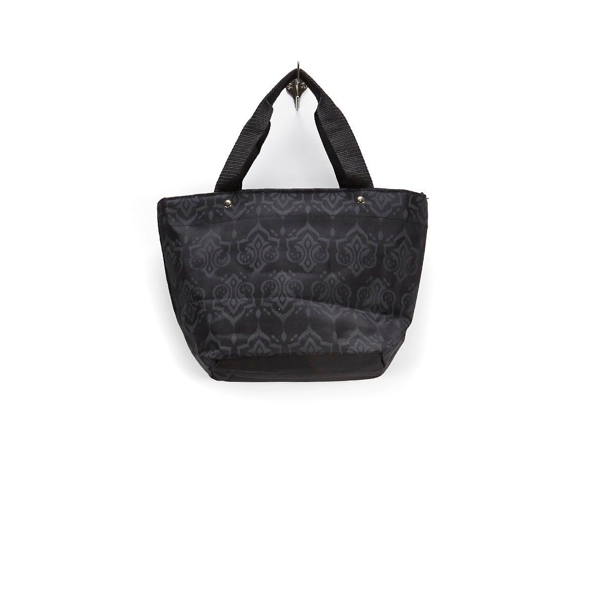 Lds blk/indigo demask printed cooler bag
