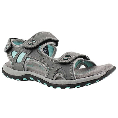 SoftMoc Women's CLARA 2 grey 3 strap sport sandals