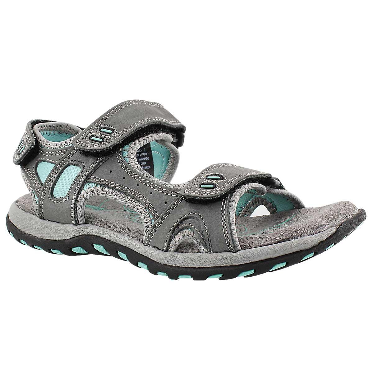 Women's CLARA 2 grey 3 strap sport sandals