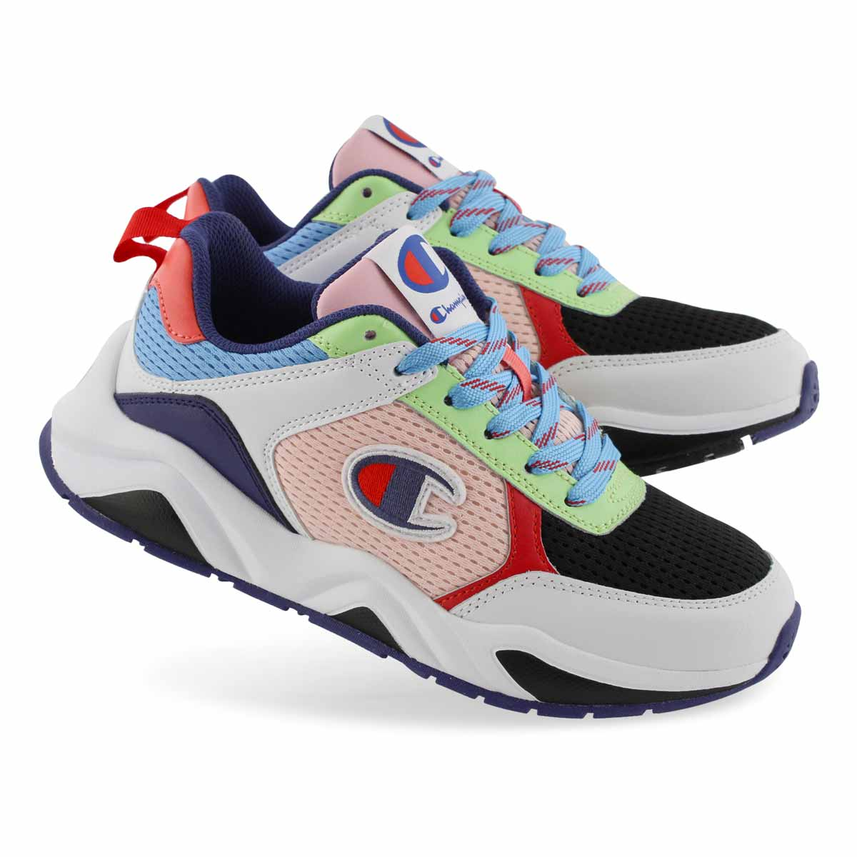 Lds 93Eighteen C Block wht mlti sneaker