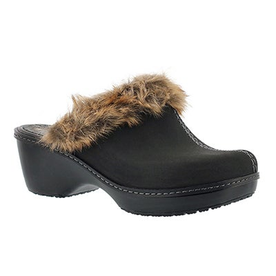 Crocs Women's COBBLER FUZZ black clogs - Wide